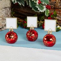 Red Snowflake Bauble Place Card Holders (6)